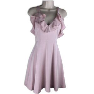 INA Pink Ruffled Skater Dress